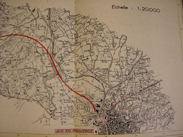 Projet déviation RN8 - Aix-en-Provence - 1955