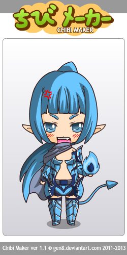 Aynlie as demon in her fighting outfit