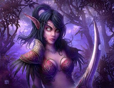 640x496 9283 Night Elf 2d fan art wow world of warcraft elf girl woman warrior fantasy picture image digital art
