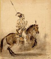 Human riding horse