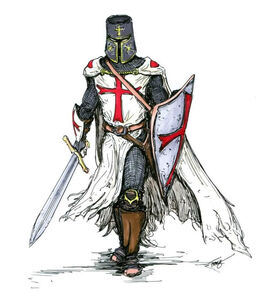 Templar Knight in Battle Dress by a