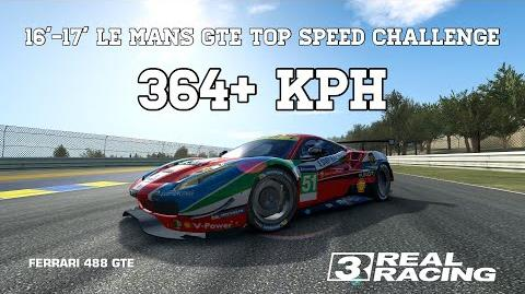 RR3 2016-17 Le Mans GTE Top Speed Challenge 364 kph Ferrari 488 GTE Real Racing 3