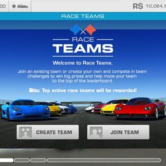 Race teams screenshot, that appears when unregistered in any team