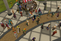 A group of players in the Grand Exchange