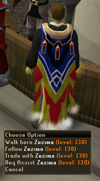 Zezima is facing away, and is wearing a completionist cape and a black shirt. He has brown hair and green skin.