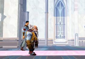 Raul and Gudrik walking in the church