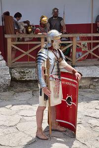 399px-Roman legionaire with manica 01