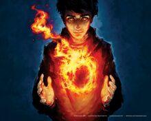 Flames mage fire circles fantasy art magic artwork children www.wall321.com 76