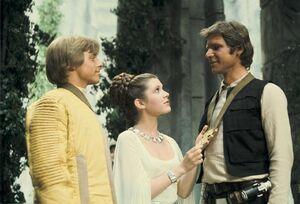 Leia honors Han and Luke