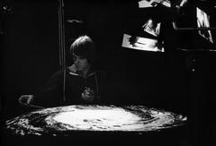 Joe Johnston works on the spiral galaxy