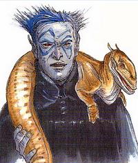 Blue-skinned exhibitor
