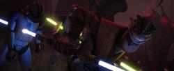 Крелл убивает солдат-клонов