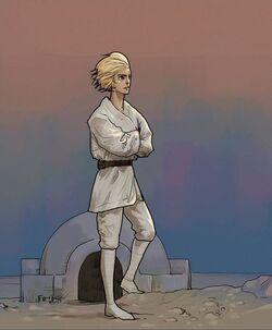 Люк смотрит на закат в манге от LINE