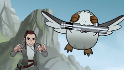 Porg forcefully flying