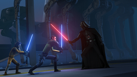 Kanan and Ezra face Darth Vader