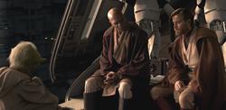 Йода, Винду и Кеноби обсуждают Энакина