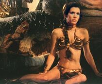 Princess Leia chained to Jabba