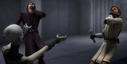 Ventress chokes Kenobi and Skywalker