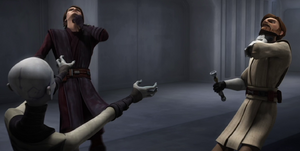 Ventress chokes Kenobi and Skywalker