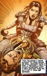 Селеста пытается вырвать Талисман Муура прочь от Зейна Керрика