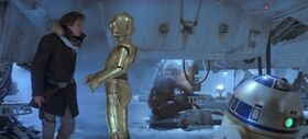 Han Threepio R2 Chewie Falcon in Echo base