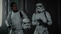 Iden in stormtrooper's armor