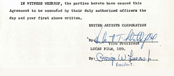 Lucas agreement with the United Artists