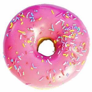 File:Pink frosted sprinkled donut.jpg