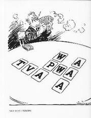Editorial cartoon mocking FDR's -Alphabet agencies-