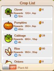Crop list