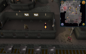 Scan clue Keldagrim inside long building north of mine cart tracks