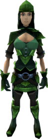 Green dragonhide armour (female) equipped