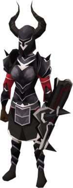 Black trimmed armour set (sk) equipped