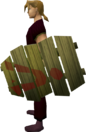 Goblin cower shield equipped.png