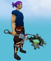 Augmented Akrisae's war mace equipped