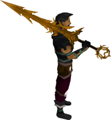 Golden Zamorak godsword equipped