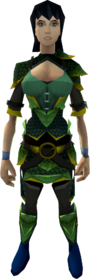 Green dragonhide armour (g) (female) equipped