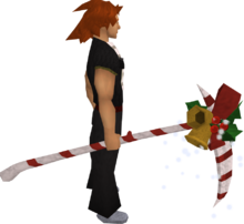 Christmas scythe equipped