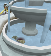 Imp hiding in fountain