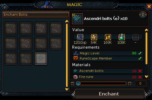 Enchanting crossbow bolts
