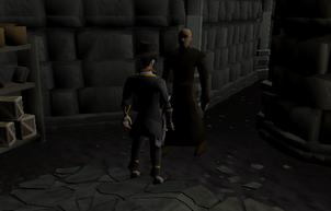 Jogador falando com Drezel sob o Paterdomus