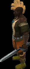 Off-hand gorgonite rapier equipped