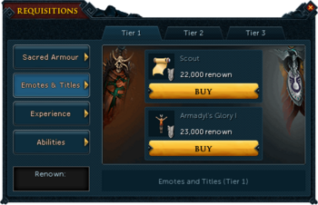 Requisitions Emotes and Titles (Armadyl Tier 1)