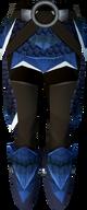 Blue dragonhide chaps (t) detail