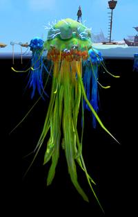 Electrifying green blubber jellyfish