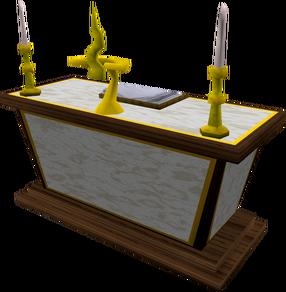 Altar de mármore dourado