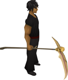 Golden scythe equipped