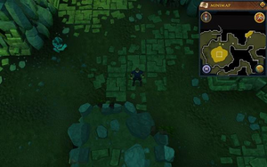 Scan clue Brimhaven Dungeon lower level in passage east of north-west chamber with central lava pool