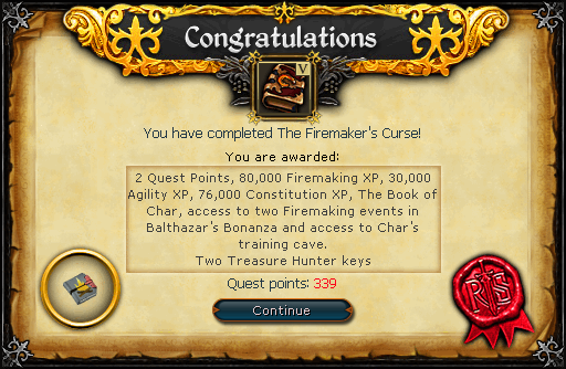 The Firemaker's Curse reward