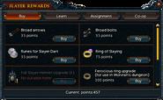 Slayer points (Buy) interface